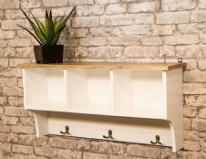 MANT-044 SHELF WITH STORAGE AND HOOKS - WHITE
